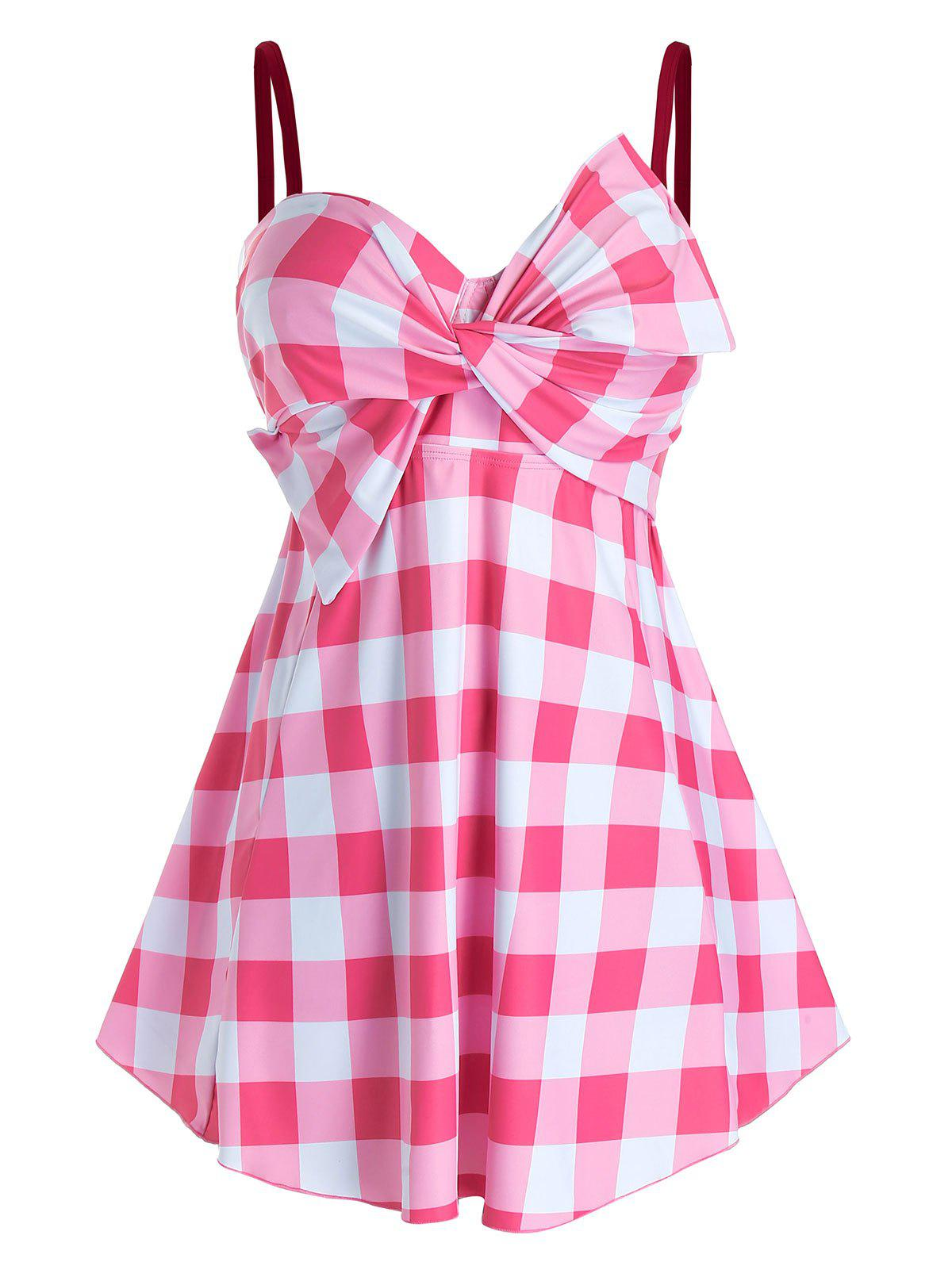 Plus Size Plaid Bowknot Twist Skirted Boyleg Tankini Swimwear Rosegal
