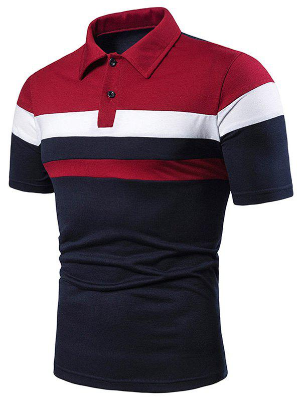 Discount Colorblock Striped Half Button Short Sleeve T Shirt