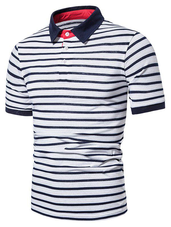 Turn Down Collar Quarter Button Striped Print T-shirt фото