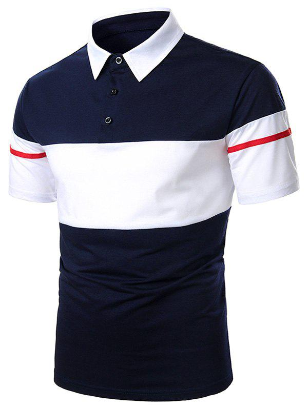 Hot Colorblock Button Casual Short Sleeve Tee