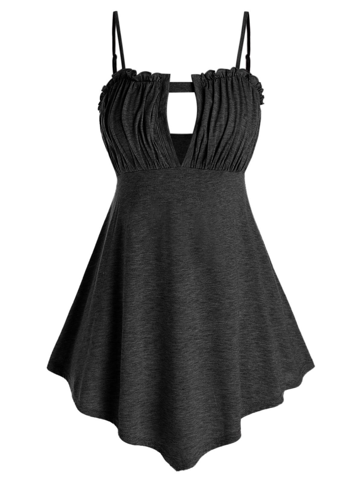 Chic Plus Size Ruched Keyhole Tank Top