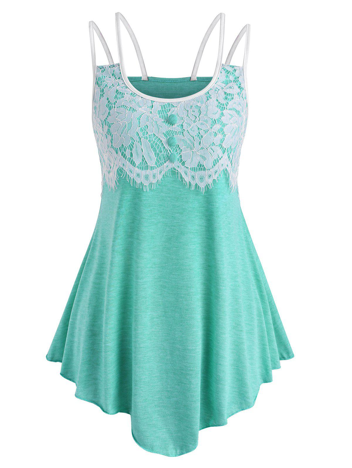 Shops Lace Panel Cami Asymmetrical Top
