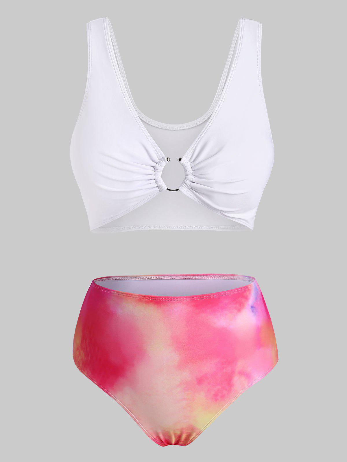 Hot U-bar Tie Dye High Waisted Bikini Swimwear