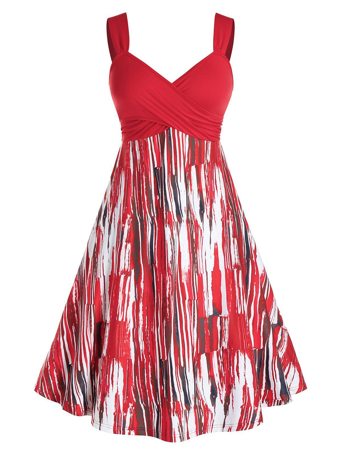 Hot Plus Size Crossover Printed Midi Backless Dress