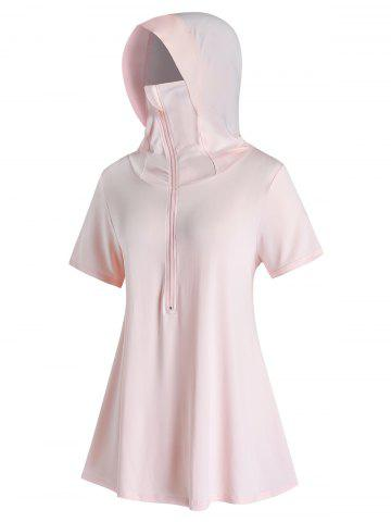 Plus Size Face Protection Hooded Zipper Tunic Tee - LIGHT PINK - L
