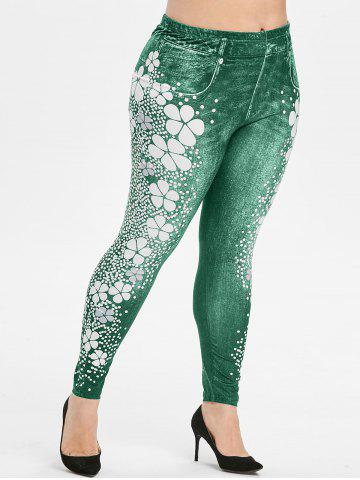 Plus Size Flower Polka Dot High Waisted 3D Jeggings - LIGHT SEA GREEN - 4X