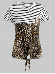 Striped Leopard Self-tie Sequined Front Pocket Tee -
