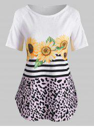 Sunflower Striped Leopard Cold Shoulder Top -