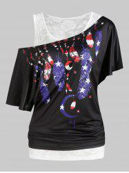 American Flag Feather Print Short Sleeve Tee And Lace Tank Top Sets -