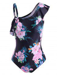 Plus Size Floral Print Ruffle One-piece Swimsuit -