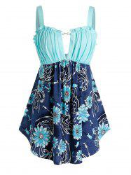 Plus Size Flower Ruched Backless Frilled Tank Top -