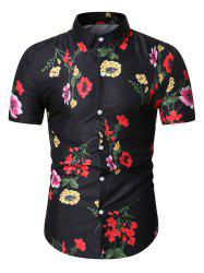 Flower Printed Short Sleeve Button Shirt -
