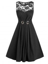 Sheer Lace Panel Belted Sleeveless A Line Dress -
