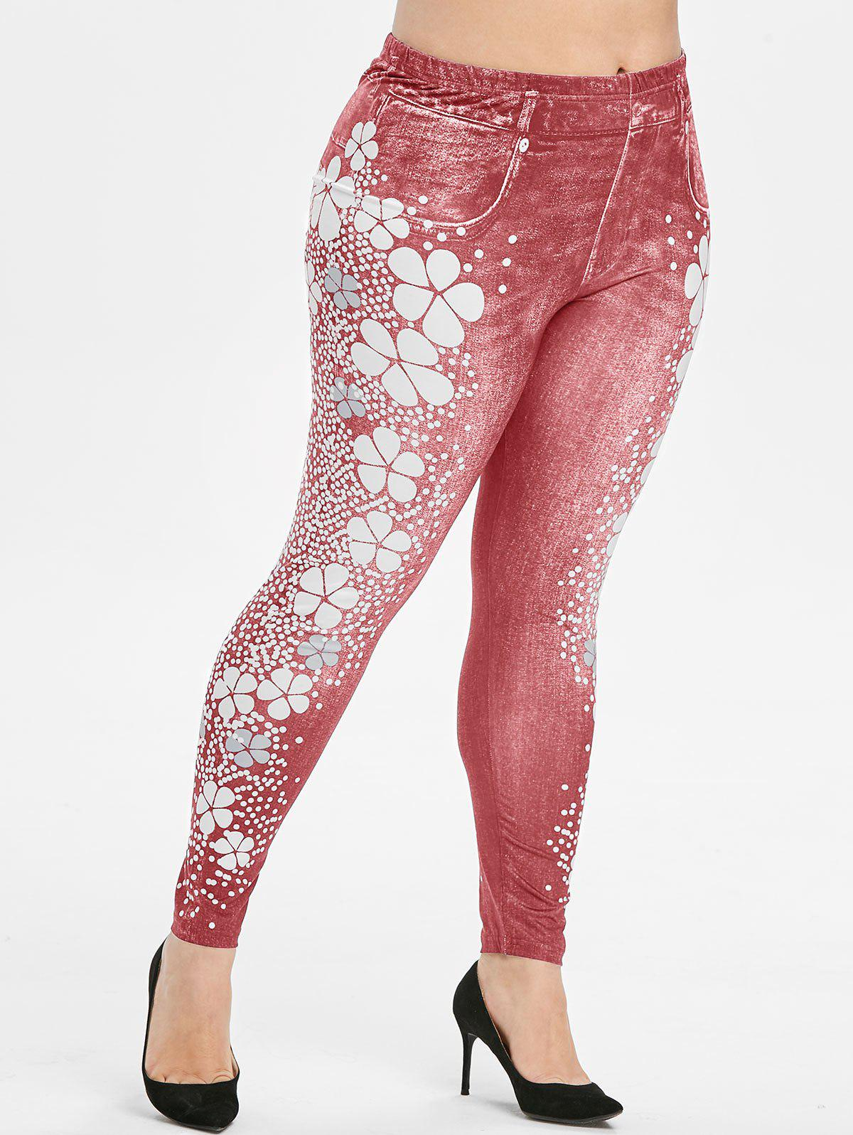 Unique Plus Size Flower Polka Dot High Waisted 3D Jeggings