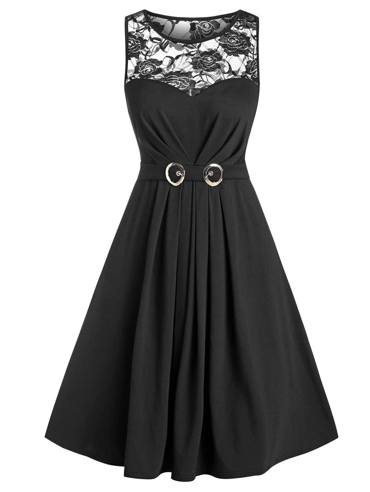 Unique Sheer Lace Panel Belted Sleeveless A Line Dress