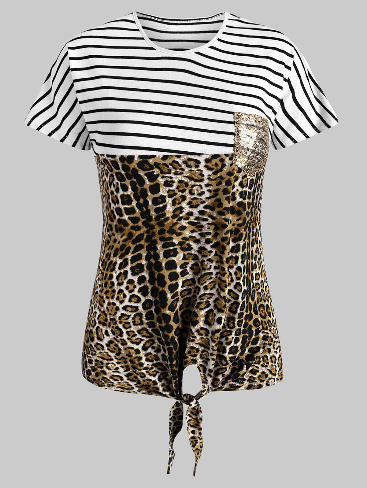 Sale Striped Leopard Self-tie Sequined Front Pocket Tee