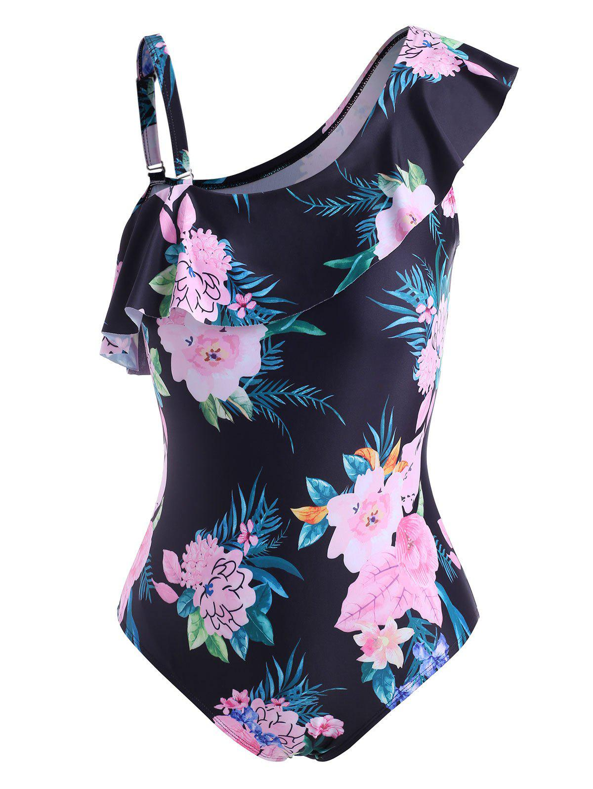 Latest Plus Size Floral Print Ruffle One-piece Swimsuit