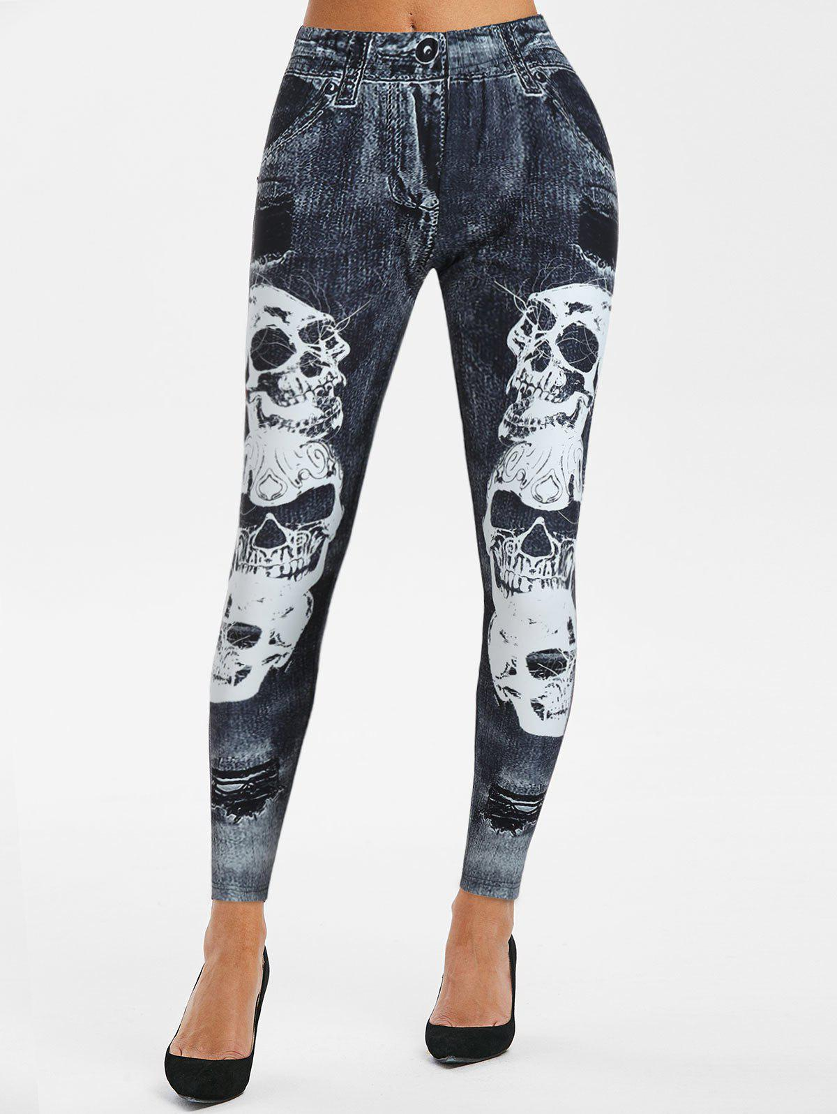 New Skull 3D Print High Waisted Skinny Leggings