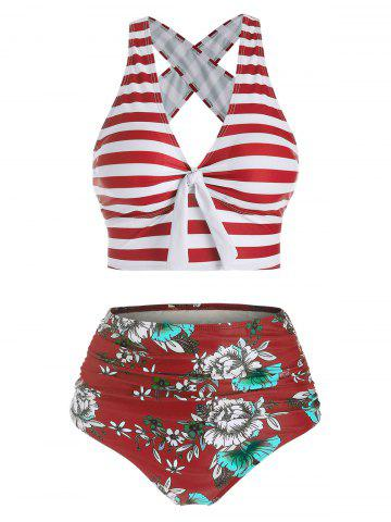 Striped Crisscross Plunging High Waisted Bikini Swimwear - RED WINE - L
