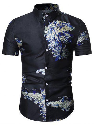 Palm Tree Print Hawaii Shirt - MIDNIGHT BLUE - L