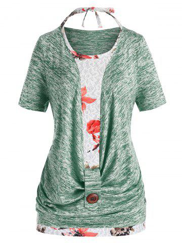 Plus Size Marled Cowl Front T Shirt And Halter Floral Tank Top Set - LIGHT GREEN - 2X