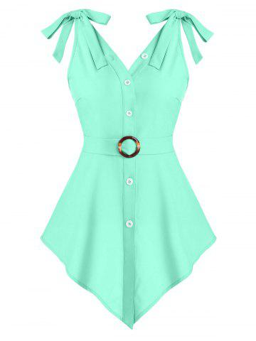 Pointed Hem Button Up O-ring Belted Tank Top