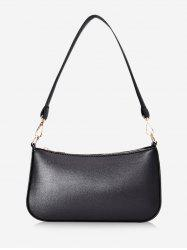 Leisure Solid Rectangle PU Shoulder Bag -