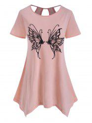 Butterfly Print Cutout Asymmetrical Top -