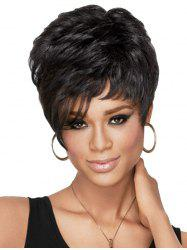 Fluffy Black Short Curly Heat Resistant Synthetic Wig -