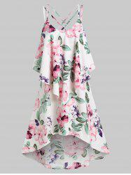 Floral Print Strappy High Low Popover Dress -