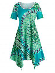 Plus Size Bohemian Print Handkerchief Dress -