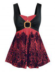 Plus Size Printed Knotted Empire Waist Tank Top -