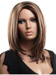 Side Part Straight Mixed Color Medium Synthetic Wig -