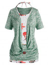 Plus Size Marled Cowl Front T Shirt And Halter Floral Tank Top Set -