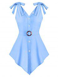 Pointed Hem Button Up O-ring Belted Tank Top -