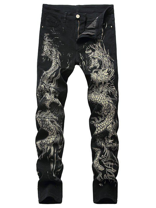Outfits Dragon Pattern Zip Fly Jeans