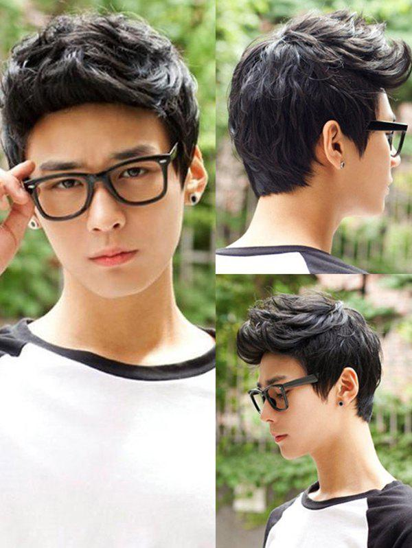 Outfit Short Layered Natural Straight Synthetic Wig For Men