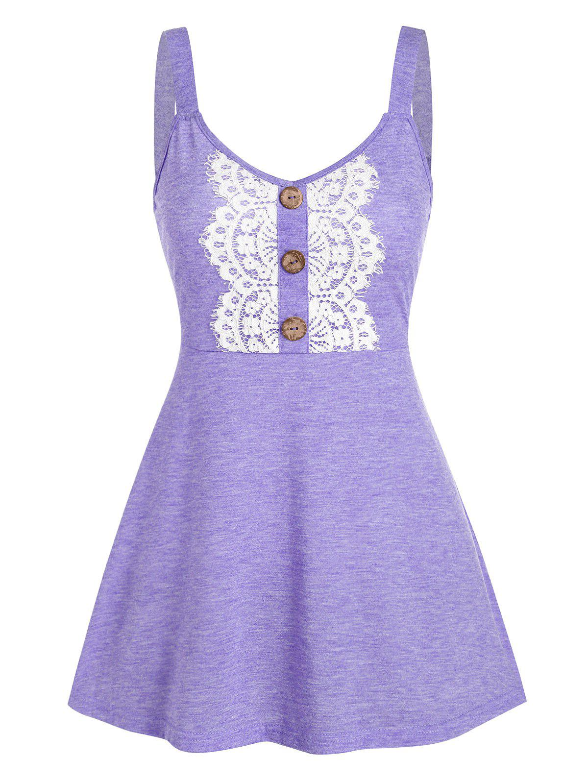Button Fit And Flare Space Dye Tank Top фото