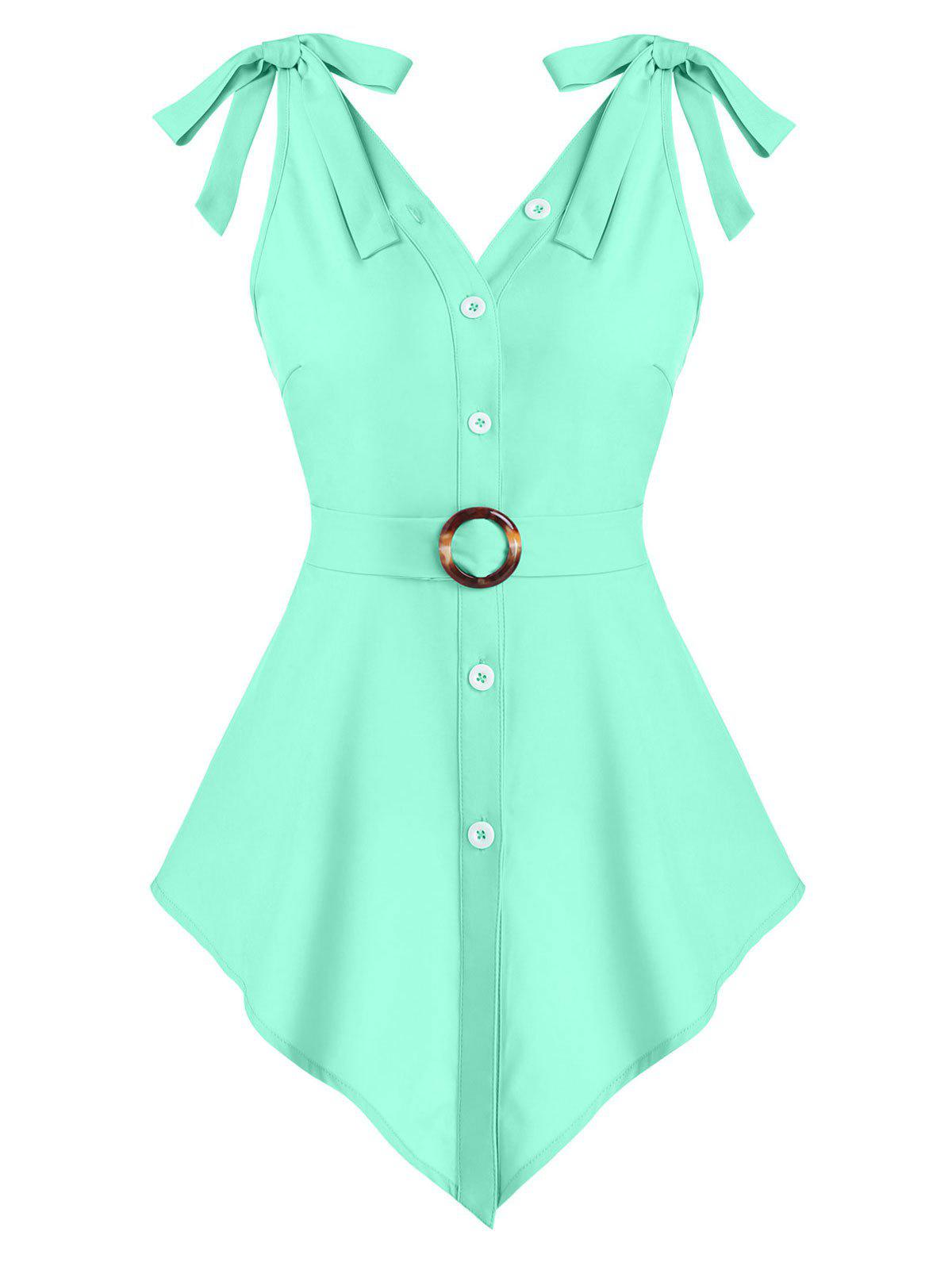 Latest Pointed Hem Button Up O-ring Belted Tank Top