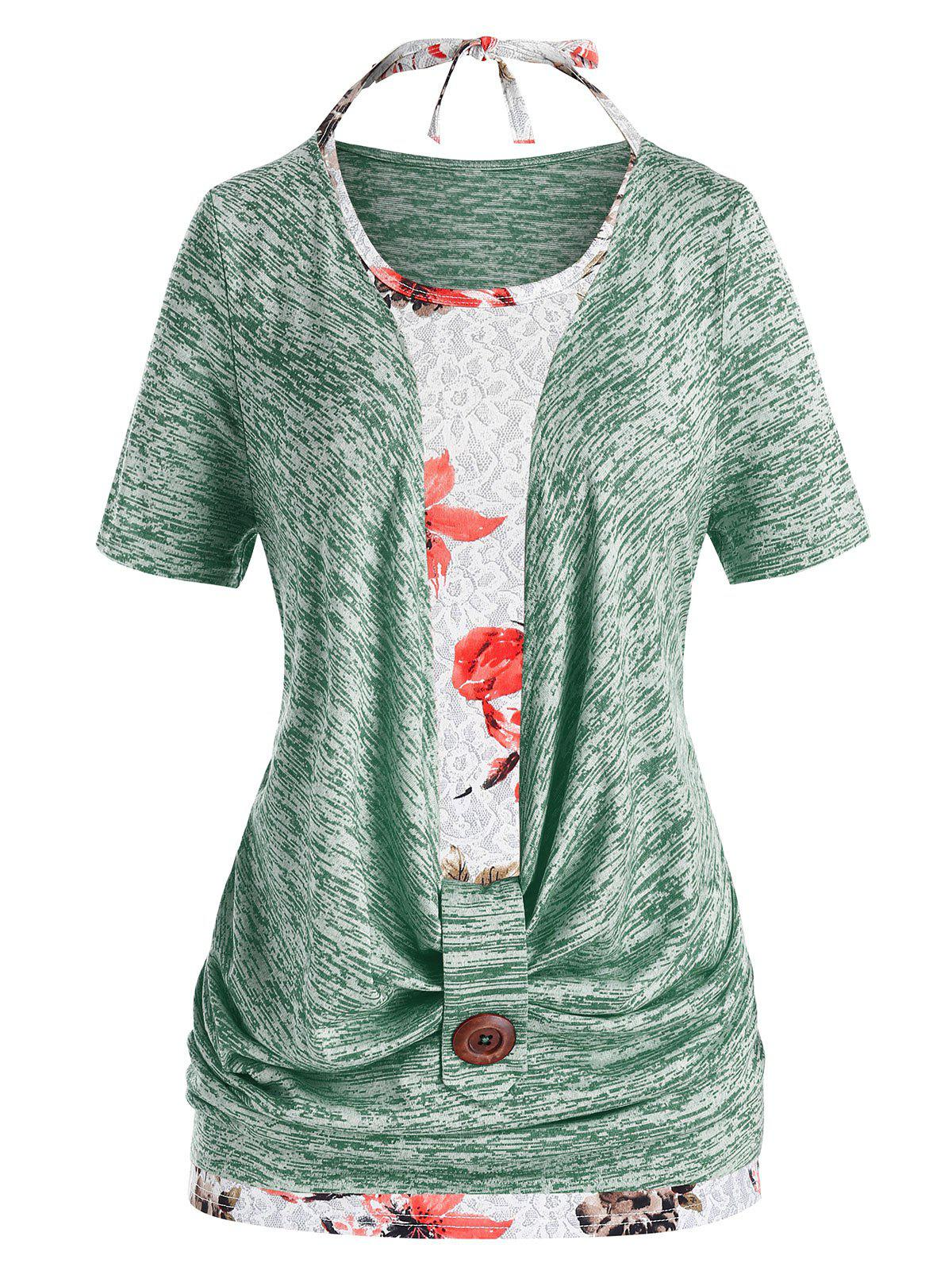 Fancy Plus Size Marled Cowl Front T Shirt And Halter Floral Tank Top Set