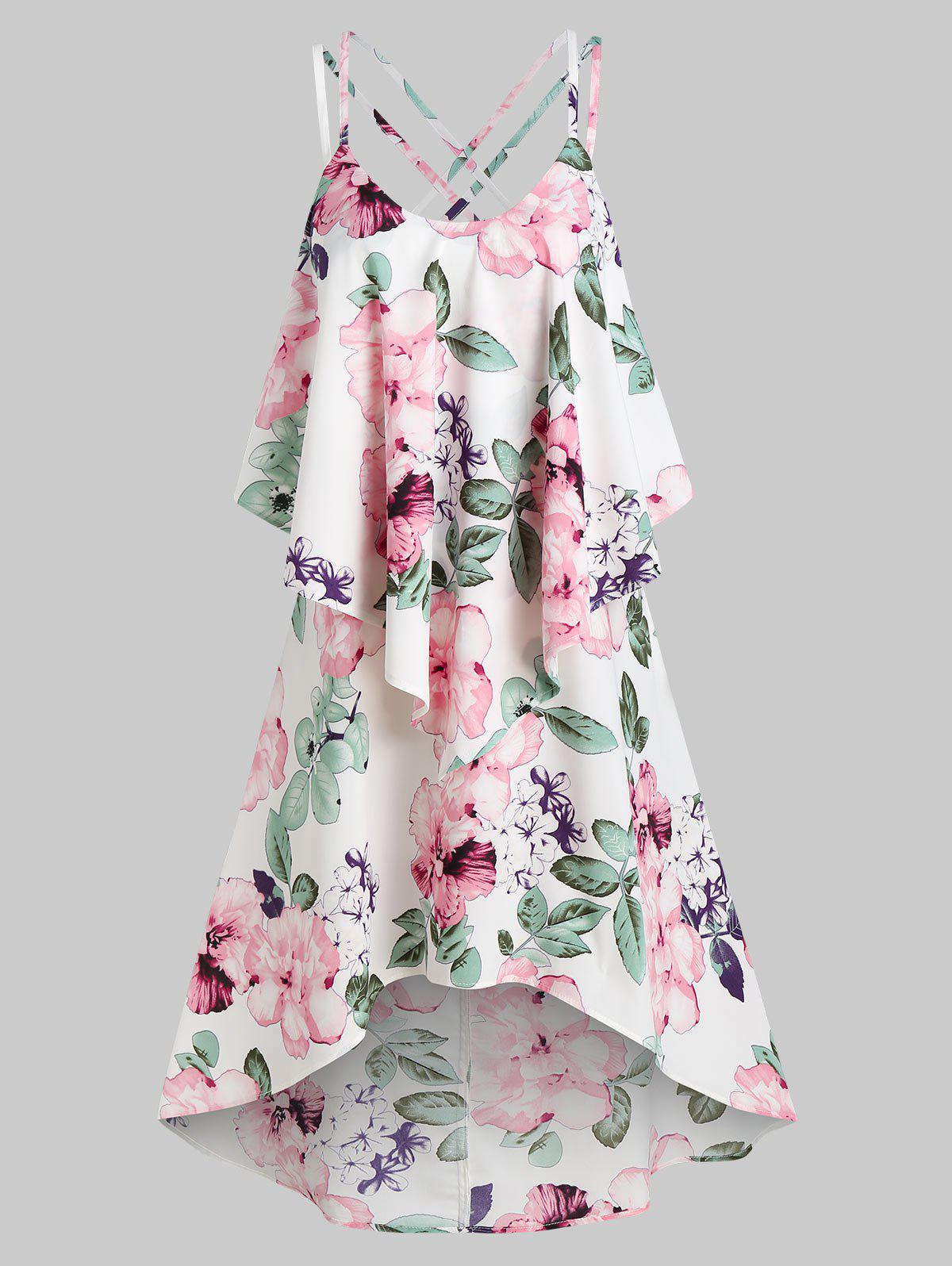 Latest Floral Print Strappy High Low Popover Dress