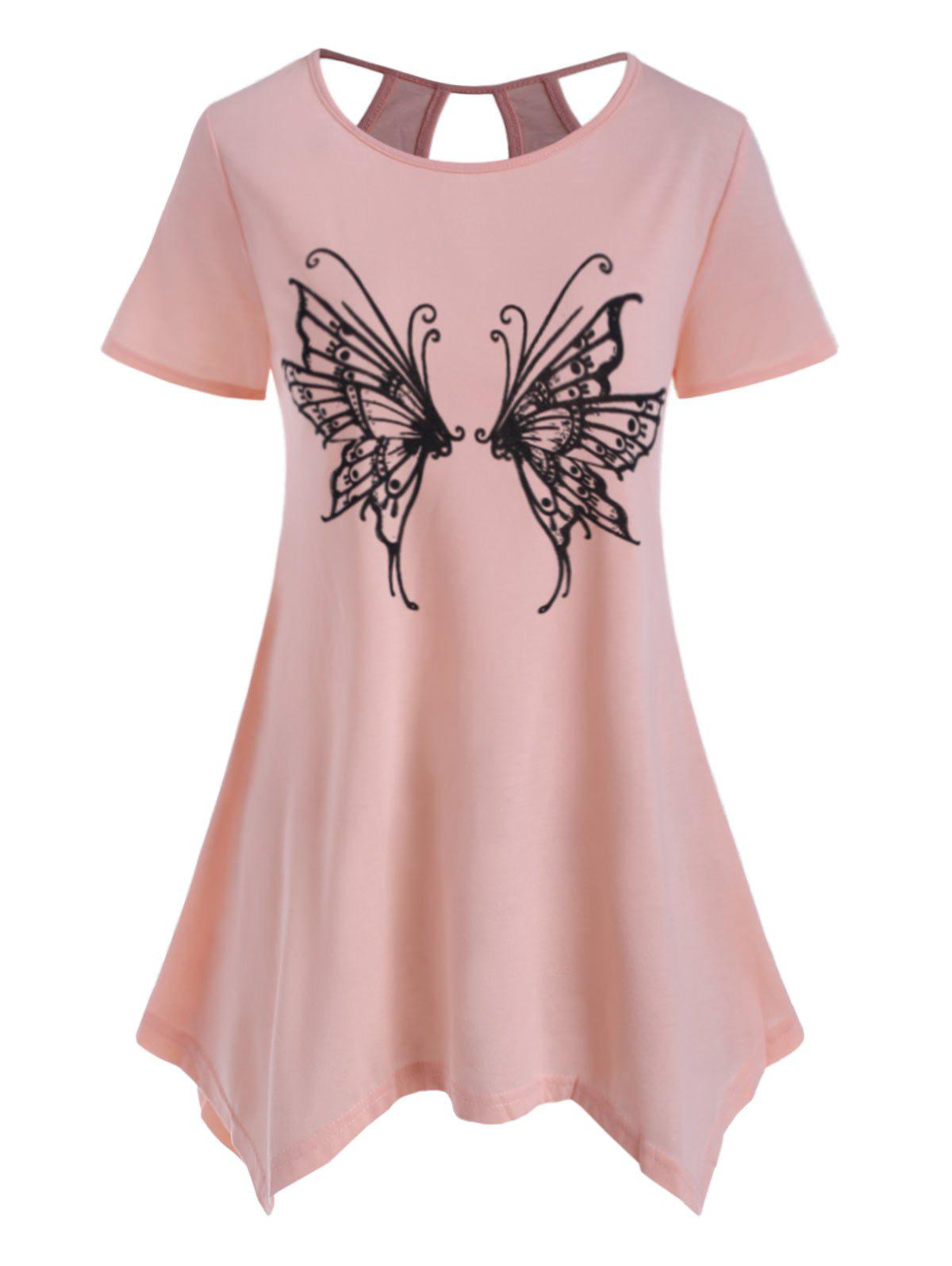Sale Butterfly Print Cutout Asymmetrical Top