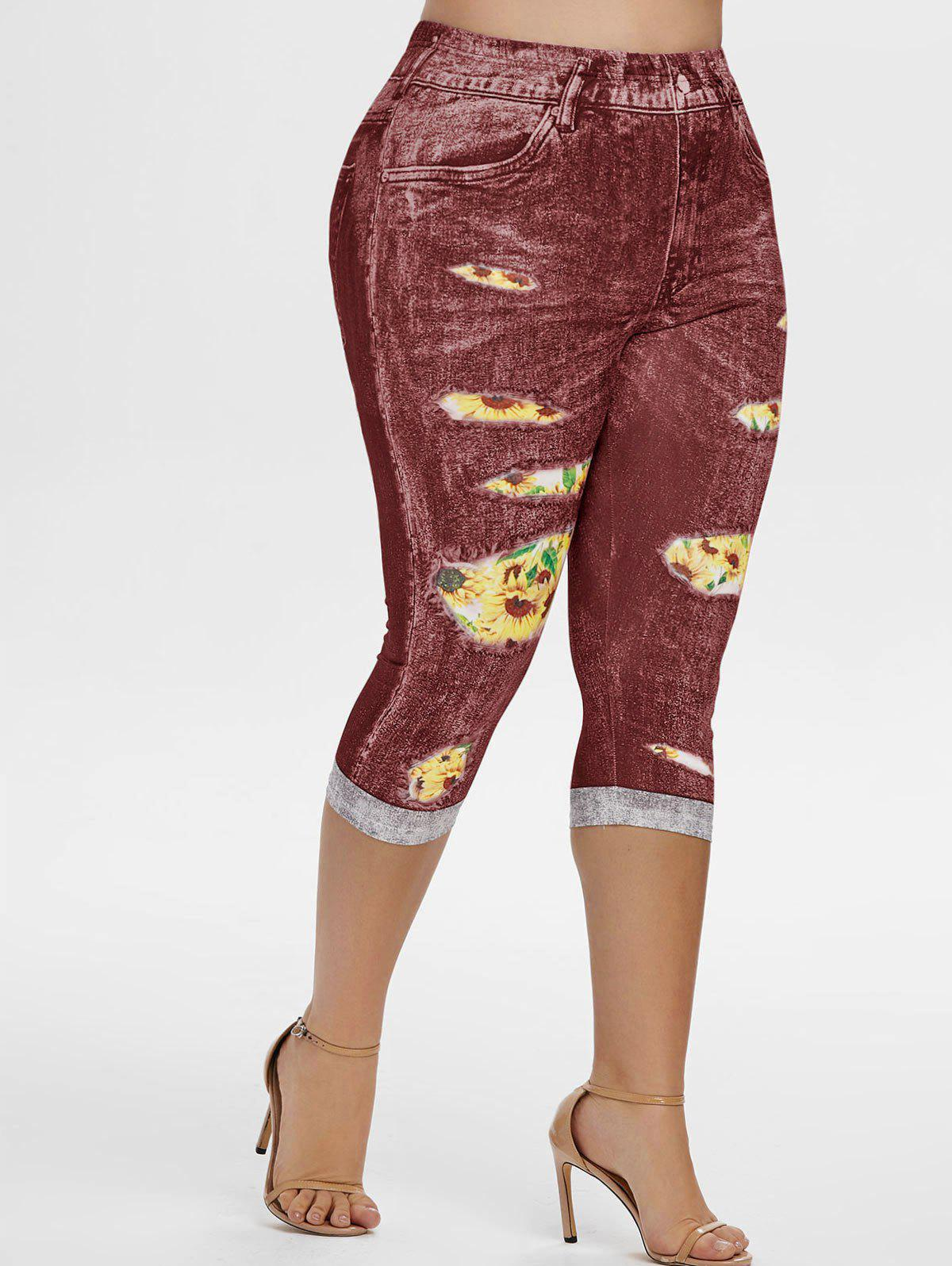 Outfits High Waisted 3D Sunflower Plus Size Capri Jeggings