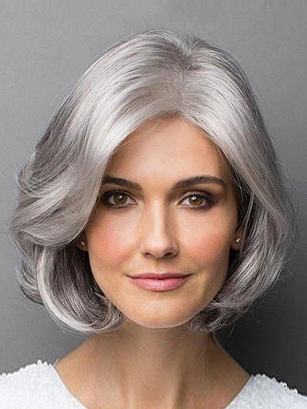 Shops Side Parting Short Layered Curly Gray Heat Resistant Synthetic Wig