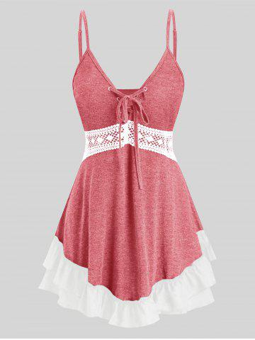 Plus Size Lace Up Flounce Tank Top - ROSE RED - 5X
