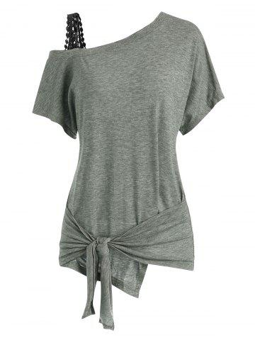Guipure Panel Skew Neck Tied T-shirt
