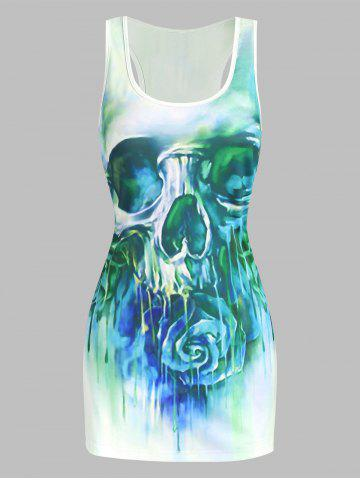 Skull and Flower Print Tank Top