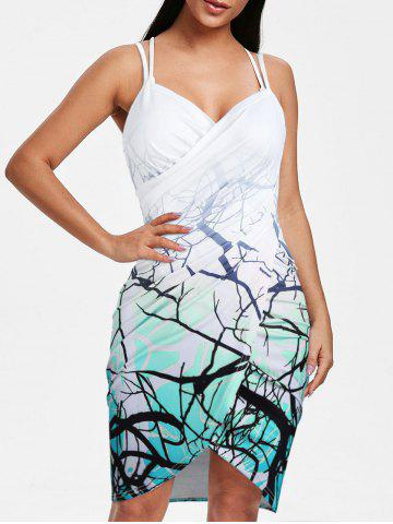 Ombre Tree Print Backless Ruched Cover-up - BLUE - 3XL