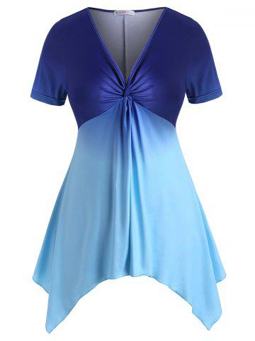 Handkerchief Twist Ombre Colorblock Plus Size Top - BLUE - L