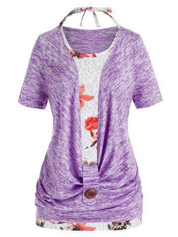 Plus Size Marled Cowl Front T Shirt And Halter Floral Tank Top Set - CROCUS PURPLE - 3X